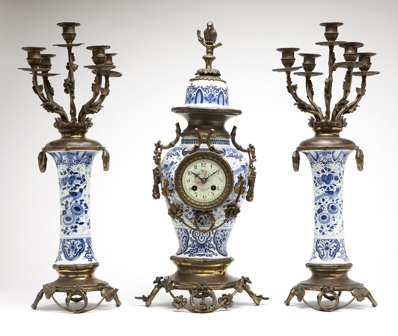 Delft-style ceramic and bronze-mounted clock set
