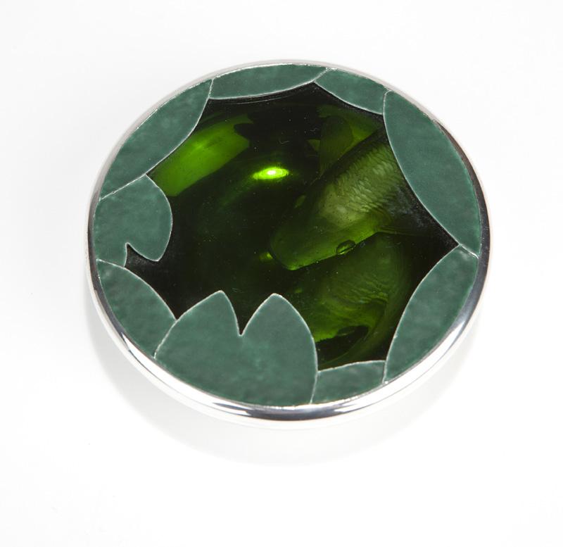 A sterling silver & art glass box, Martin Baker