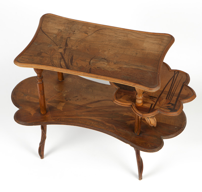 An Emile Galle 1900 Exposition marquetry table