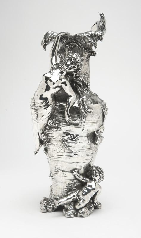 An Art Nouveau sterling silver-overlay vase