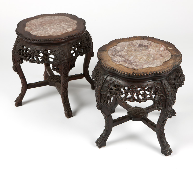 Pair Chinese export carved hardwood lamp tables