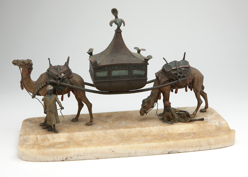 A cold-painted Vienna bronze figural inkwell