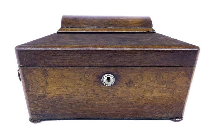Victorian rosewood sarcophagus tea caddy