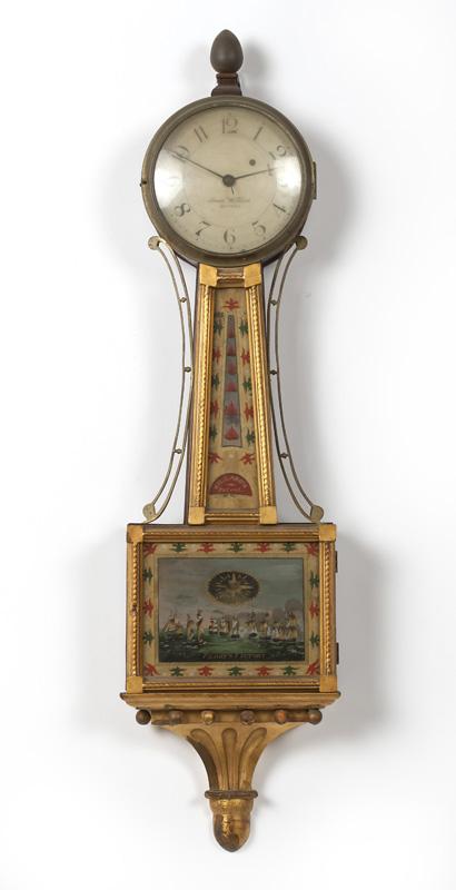 A Simon Willard banjo clock, Perry's Victory