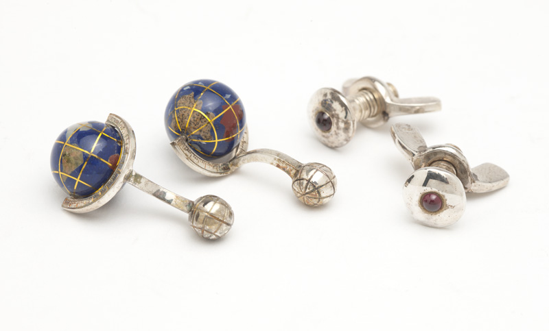 Two pairs of silver and stone cufflinks