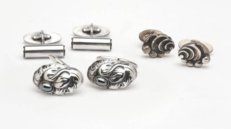 Three pairs of silver cufflinks, Georg Jensen