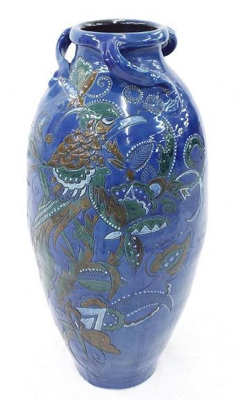 Large blue glaze studio floor vase in the style of Brannam