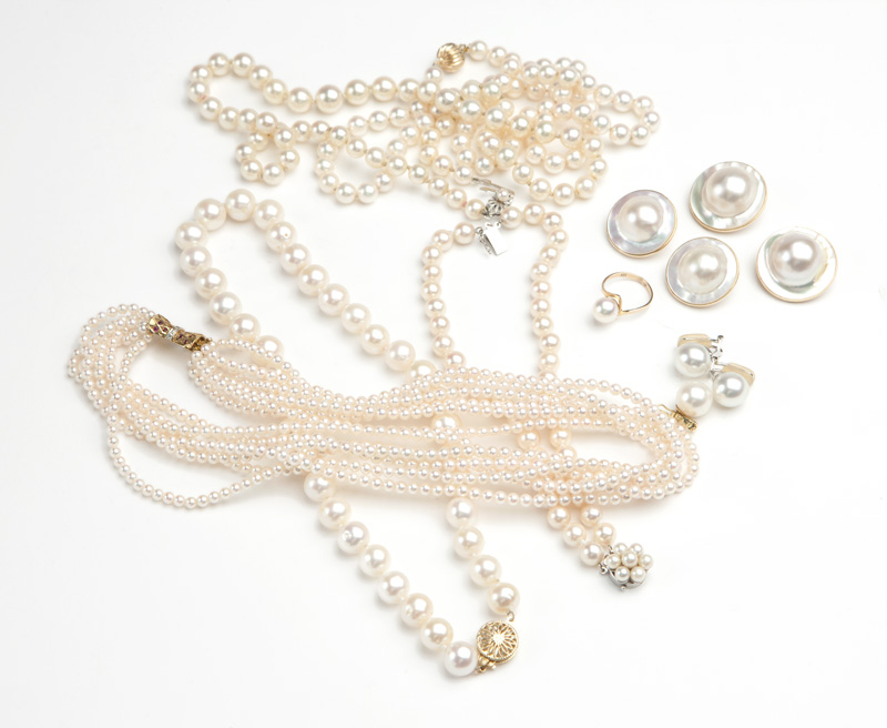 A group of cultured pearl jewelry