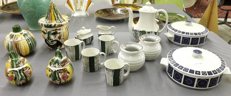 Mixed collection of decorative pottery and porcelain to include a pair of Brannam candlesticks of ovoid form