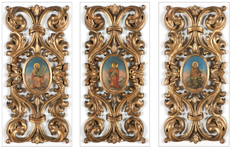 Three carved giltwood and painted icon panels