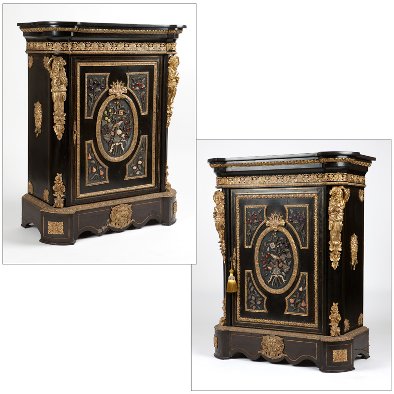 A pair of Napoleon III applied-hardstone cabinets