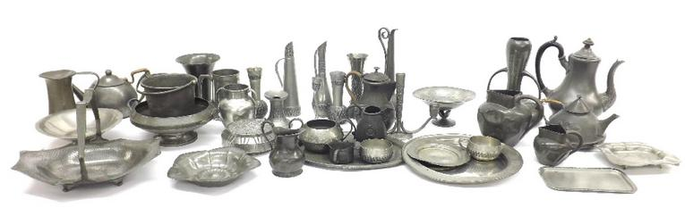 Three boxes of pewter ware to include tea wares, vases, baskets, steins etc