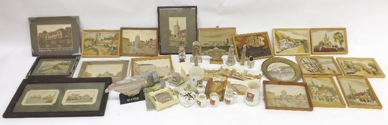 Collection of sand works and trinkets relating to the Isle of White to include a number of framed works, glass art in jars and c