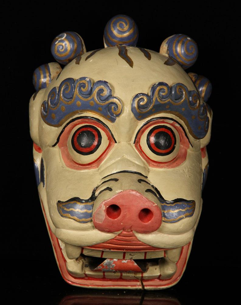 Antique wooden mask, Tibetan, in dragon or pig design