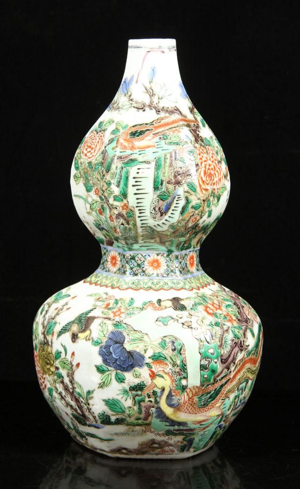 Famille-rose double gourd vase
