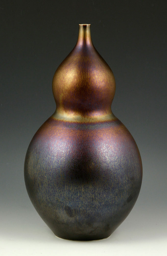 Hideaki Miyamura Studio pottery vase, double-gourd shape