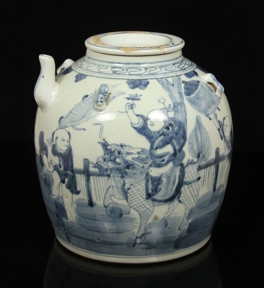 Blue and white covered teapot