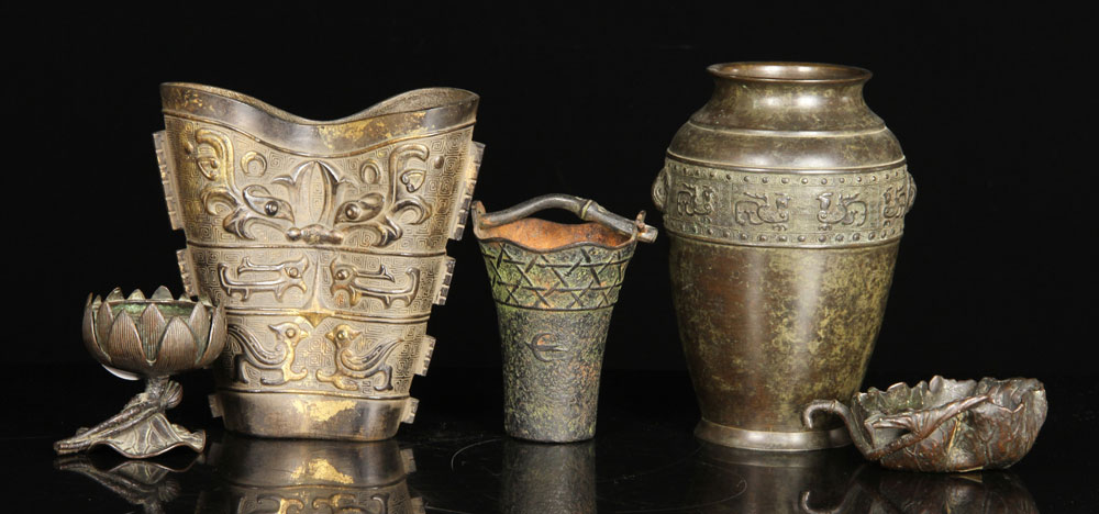 Lot of five pots and incense burners