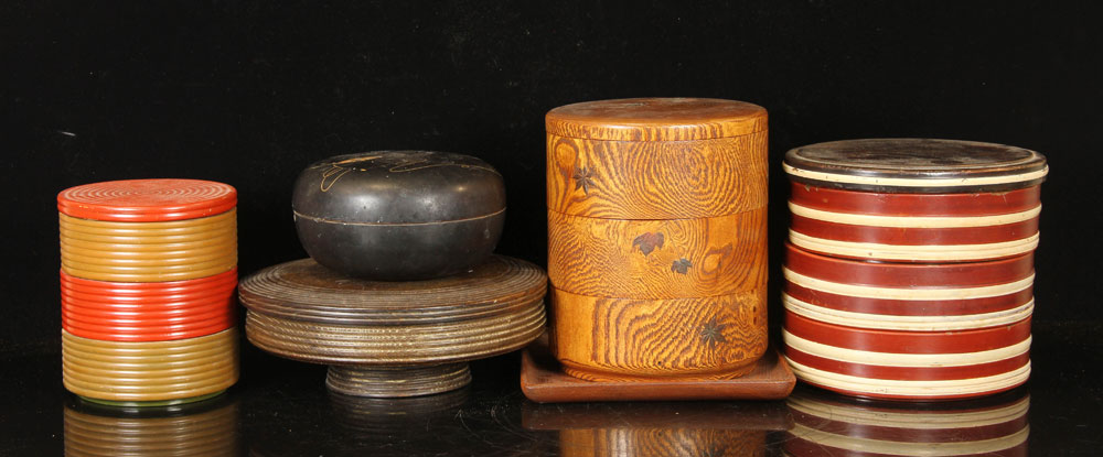 Lot of six wood and lacquer boxes