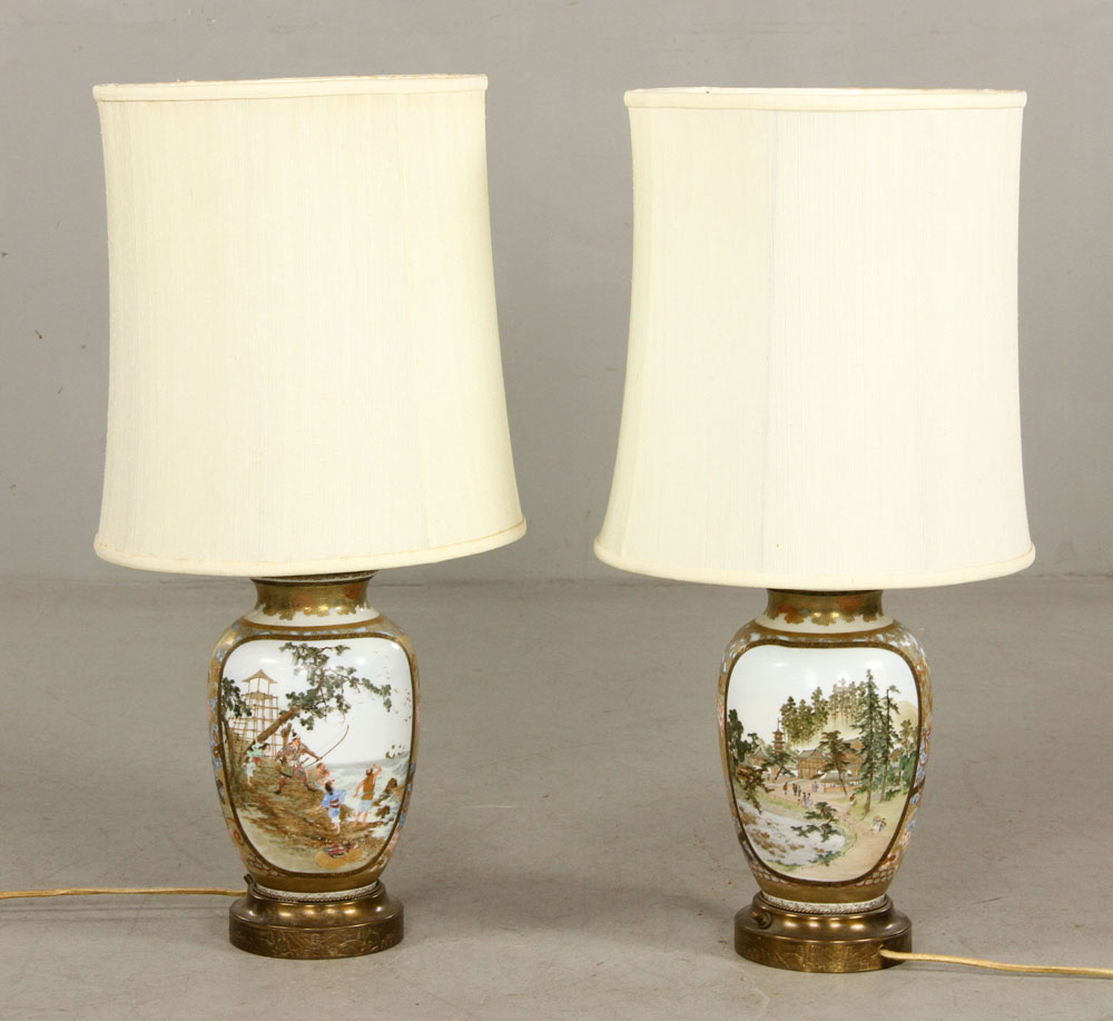 Pair of Satsuma lamps