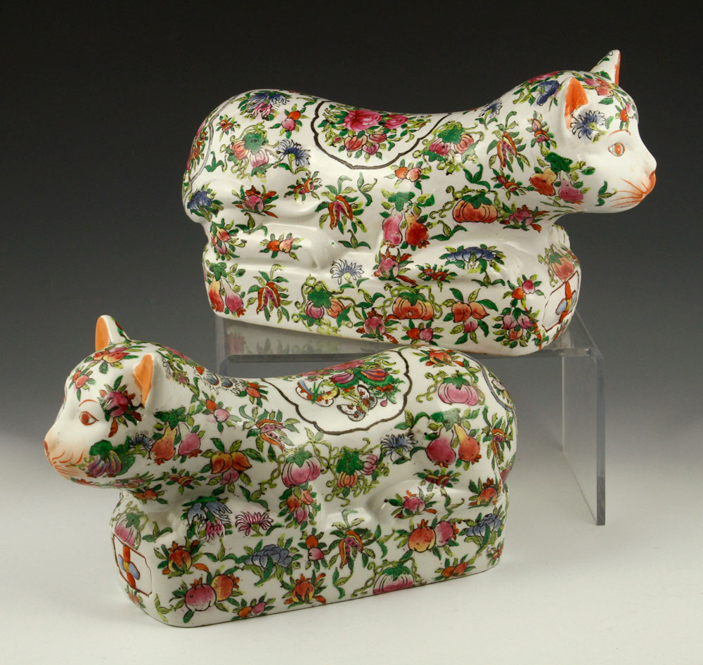 Pair of Asian cat pillows