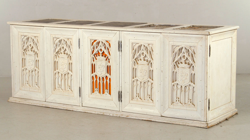 Gothic carved chest, with slate inserts in top, four doors, and six interior drawers