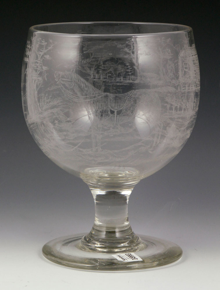 """Large footed bowl, blown glass, with etched """"Hunt"""" pattern, ground pontil"""