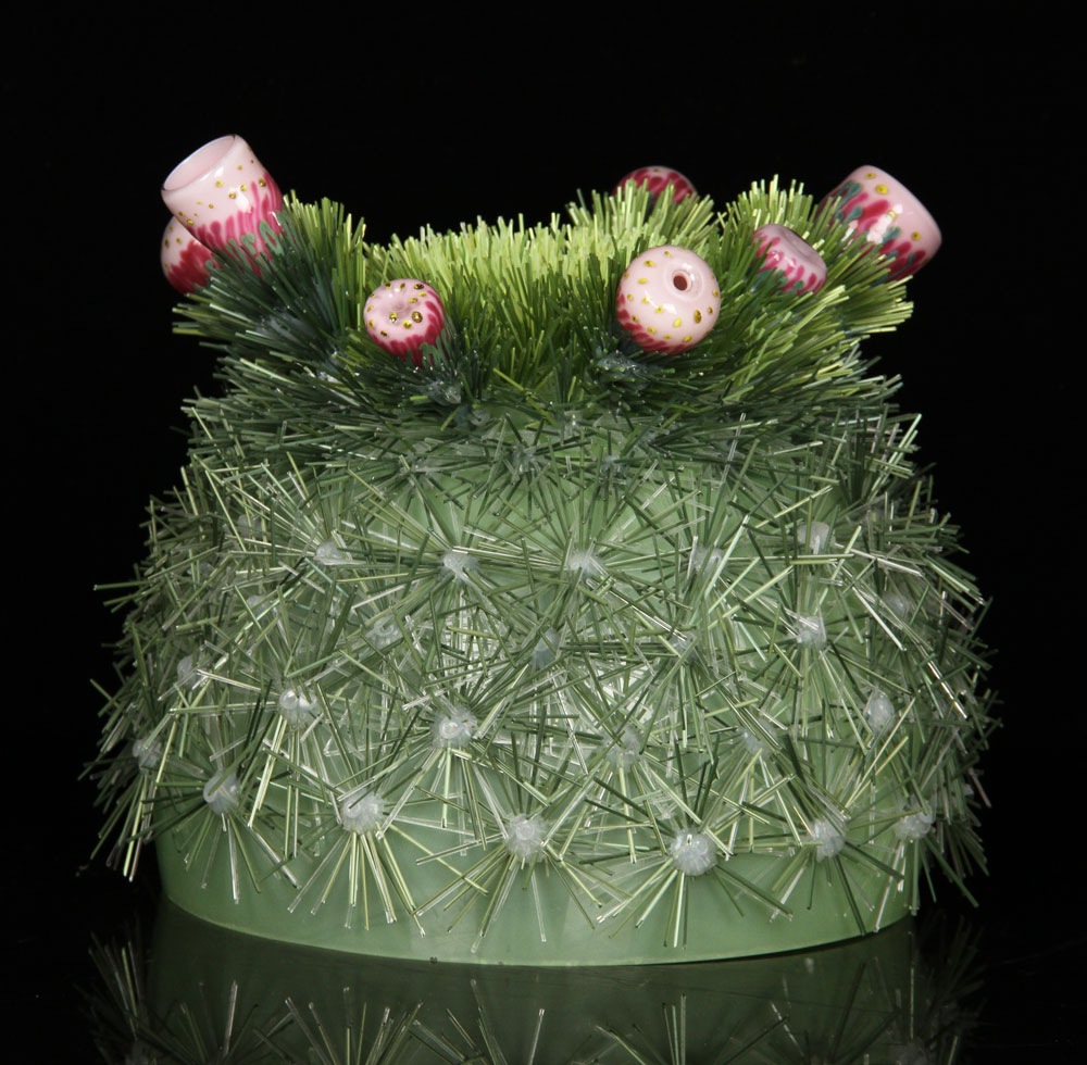 """""""Cactus Flower,"""" with glass needles and blossoms on a glass base"""