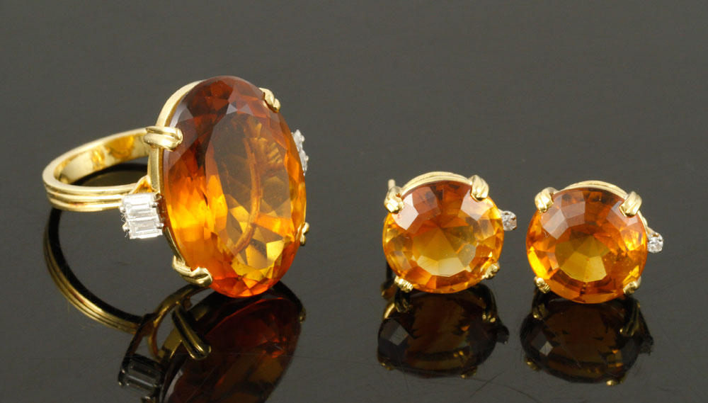"""18K yellow gold jewelry suite, with diamonds and """"Madeira"""" citrine"""