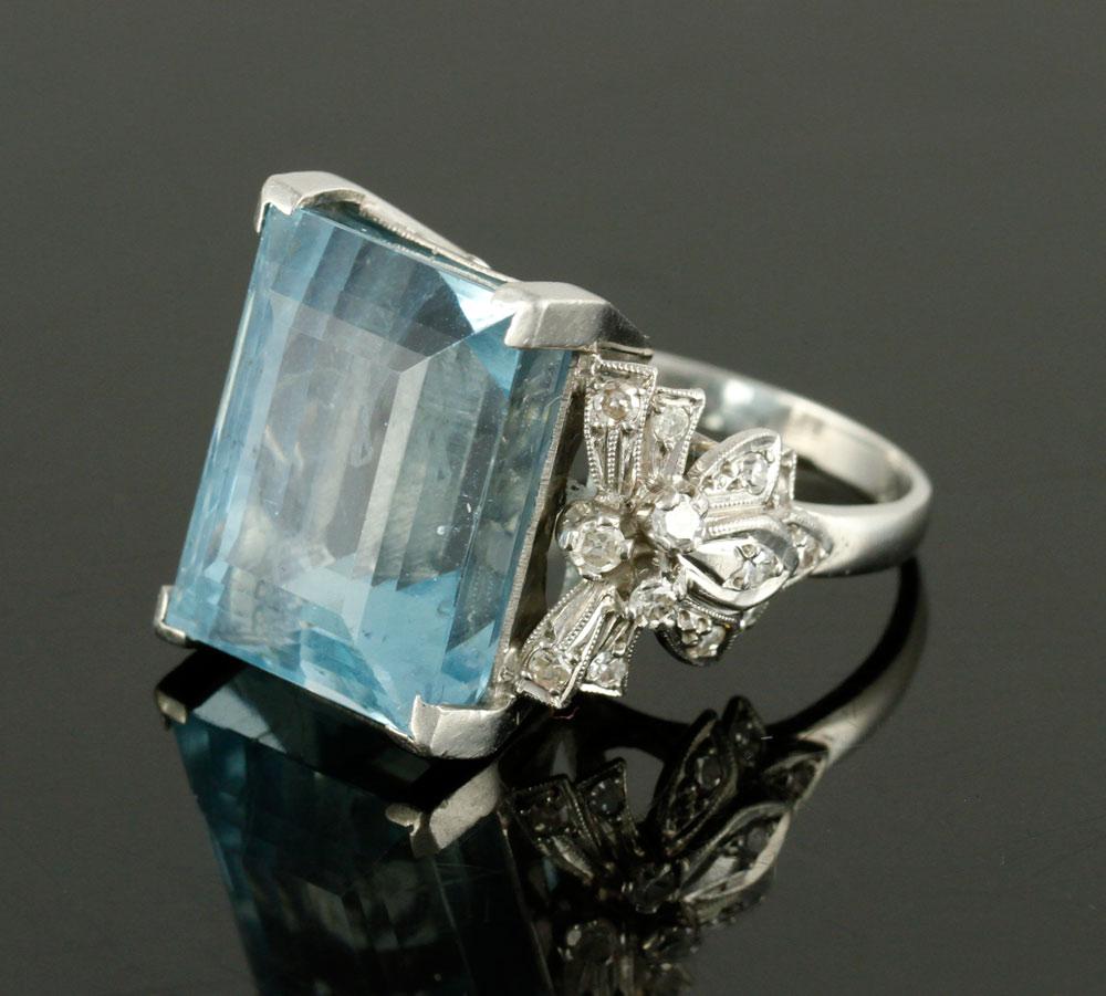 Platinum, diamond and aquamarine ring