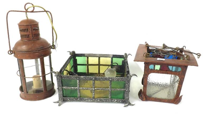 Collection of interesting cast metal and coloured glass lighting to include Arts & Crafts ceiling lights, mottled glass lantern