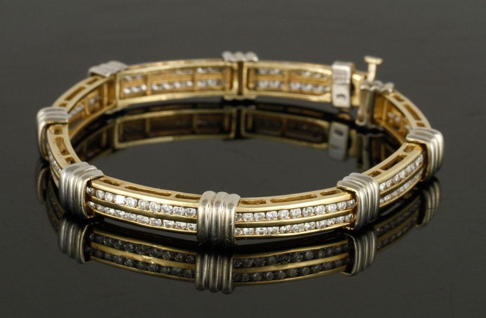 14K bi-color gold and diamond bracelet
