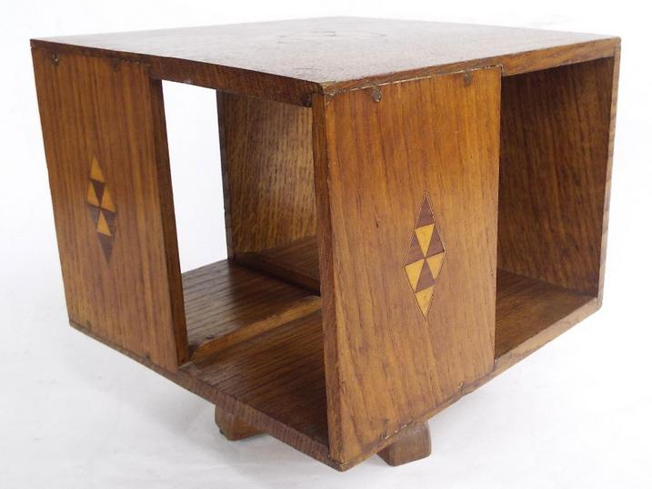 Oak revolving table top bookcase inlaid with boxwood parquetry panels
