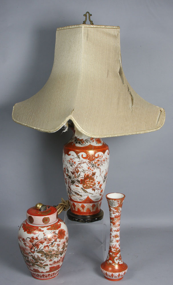 """Lot of three (3) early 20th Century Japanese Kutani items to include a lamp (29 1/2""""h)"""
