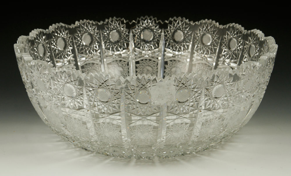 Fine cut glass punch bowl