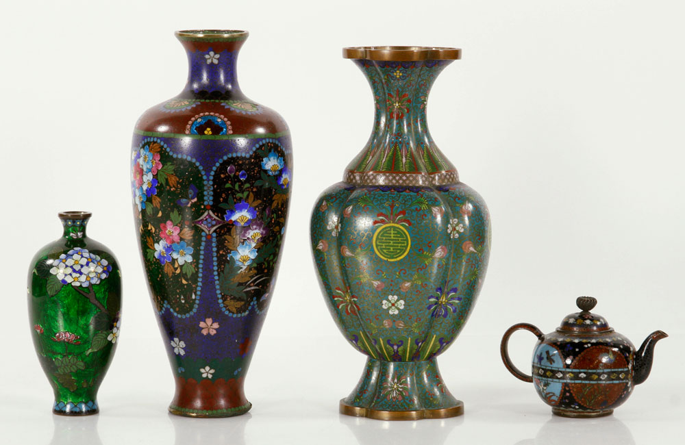 Lot of four pieces of cloisonne, to include: teapot and three vases
