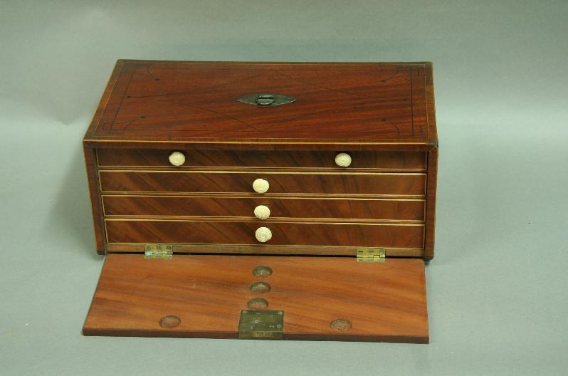 A MAHOGANY AND INLAID JEWELLERY BOX