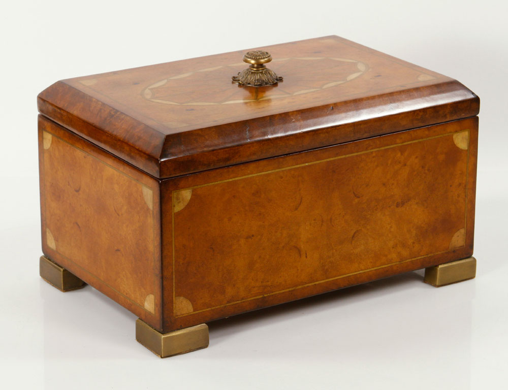 Amboyna burl wood box, with inlaid brass and mother of pearl