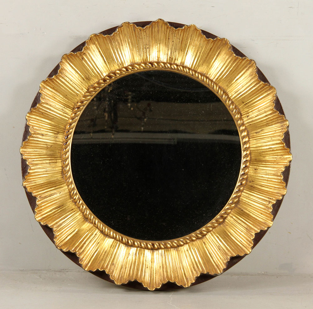 Lacquered mirror, with gilt accents