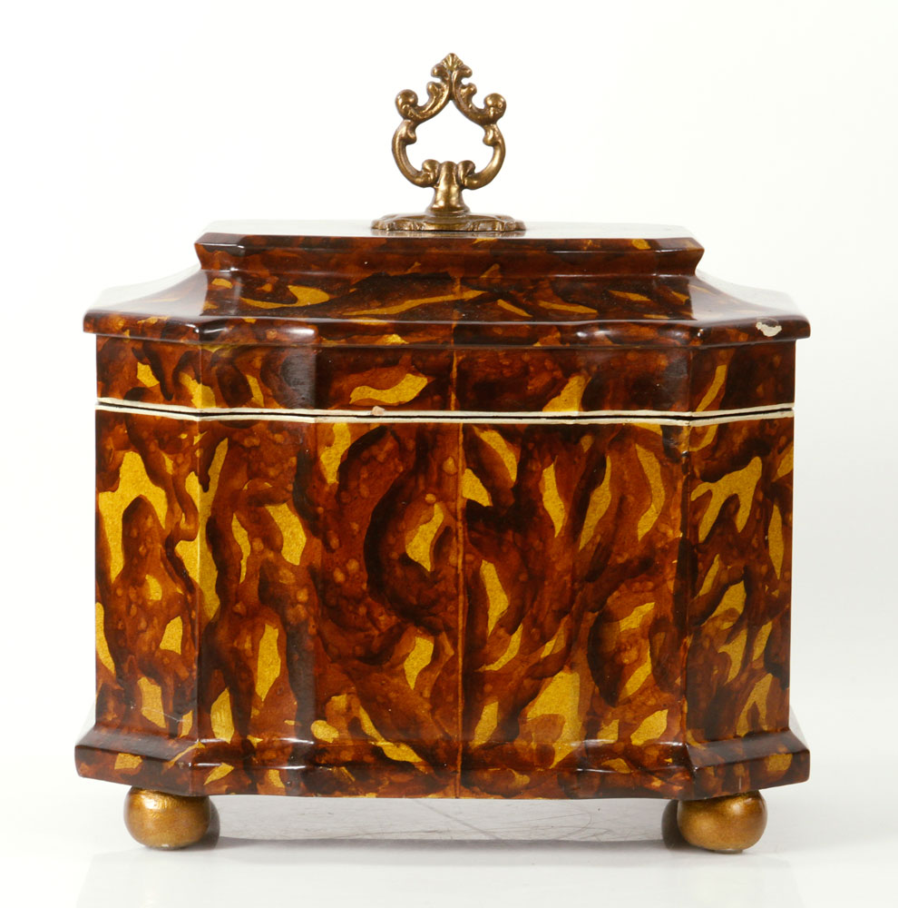 Rectangular box with cover, faux tortoise shell