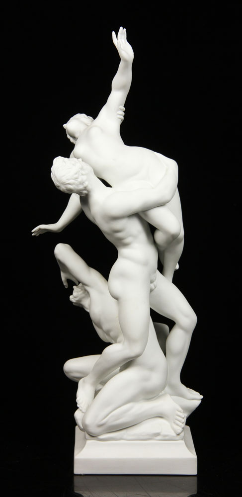 Italian Ginori figural group, white bisque, showing two nude warriors carrying nude maiden