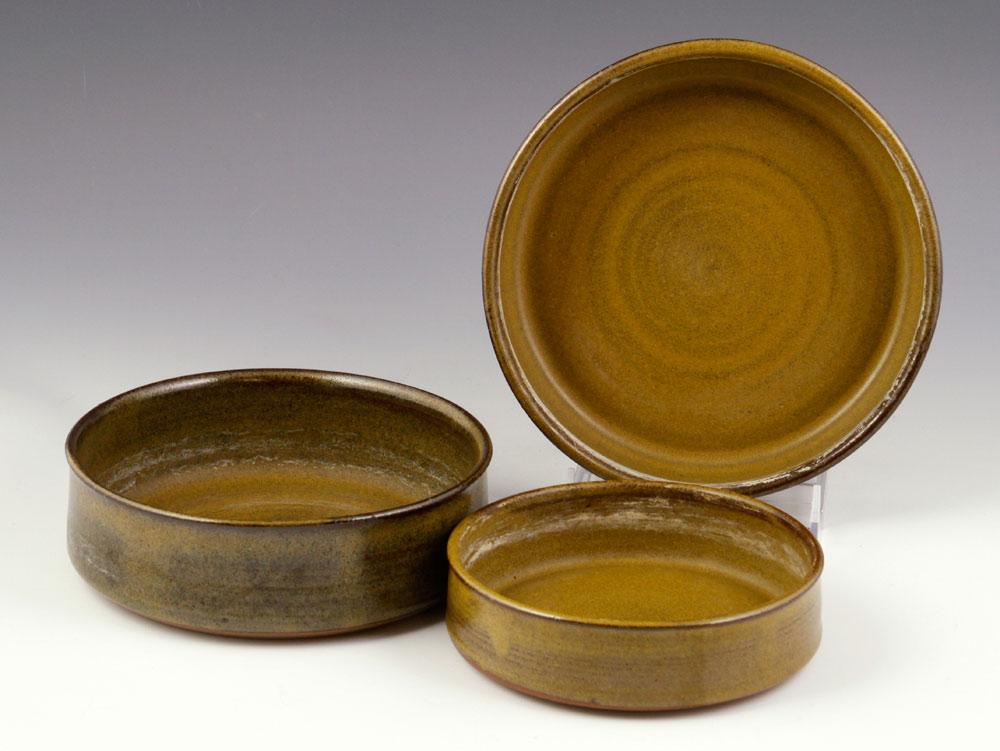 Three studio pottery trays
