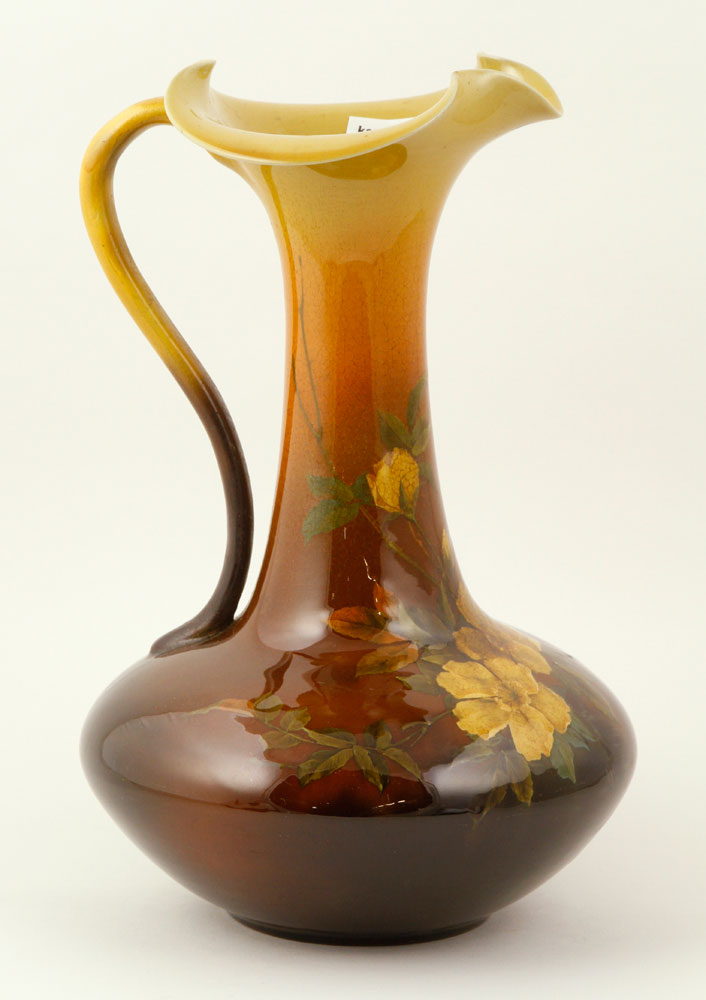 Rookwood pottery ewer, with floral motif