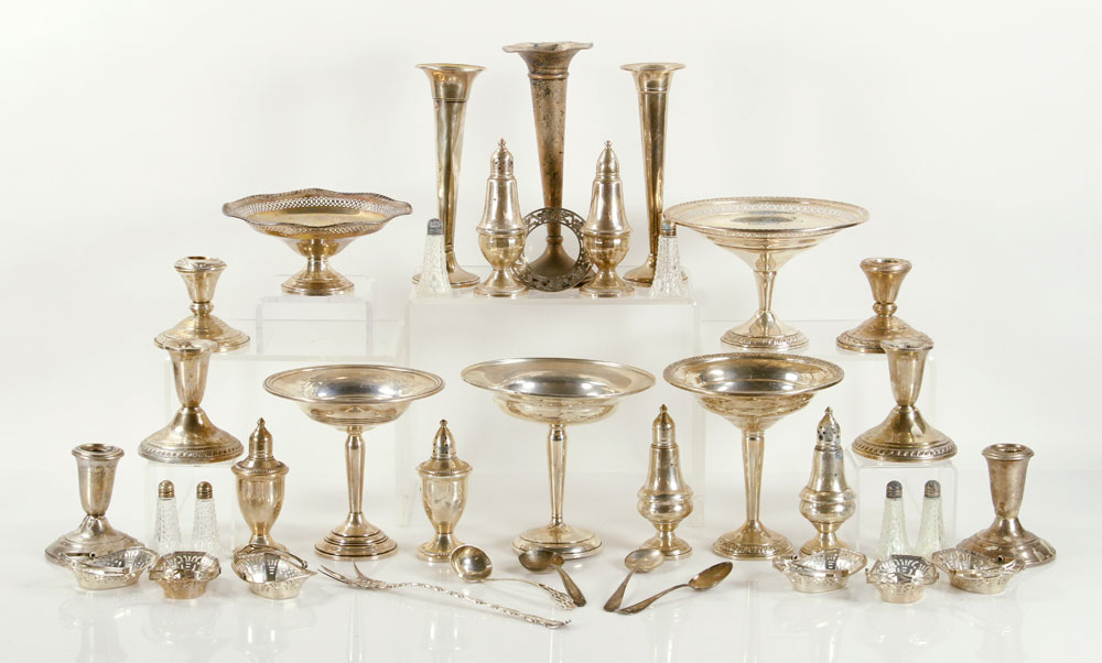 Large lot of holloware and flatware, sterling silver, mostly weighted