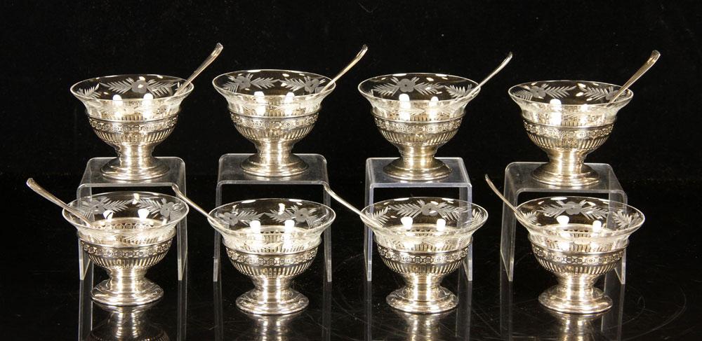 Dessert set, engraved crystal and sterling silver