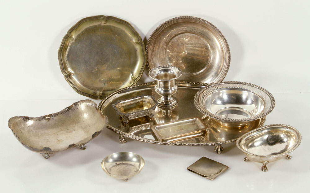 Lot of eleven silver items