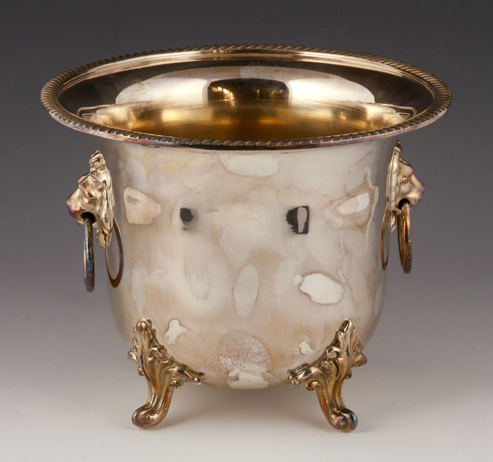 Footed planter, silver plate, with lion mask handles