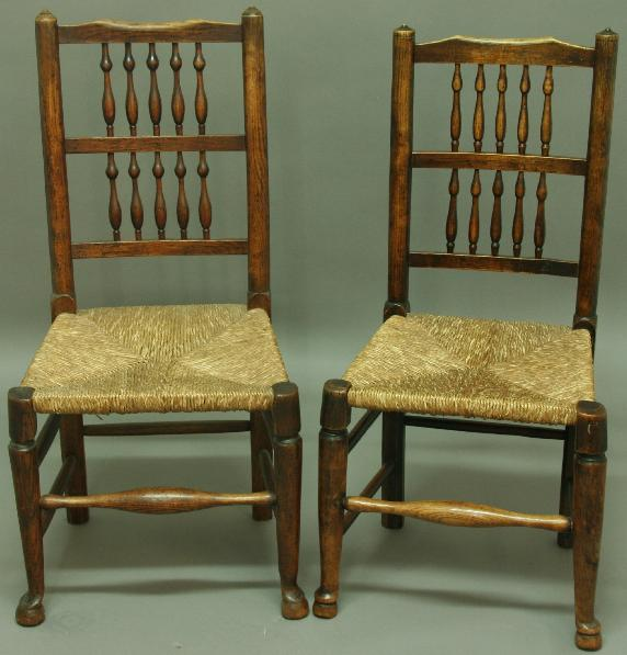 A MATCHED SET OF SEVEN LANCASHIRE DINING CHAIRS
