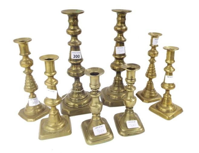 Collection of eight various brass candlesticks (8)