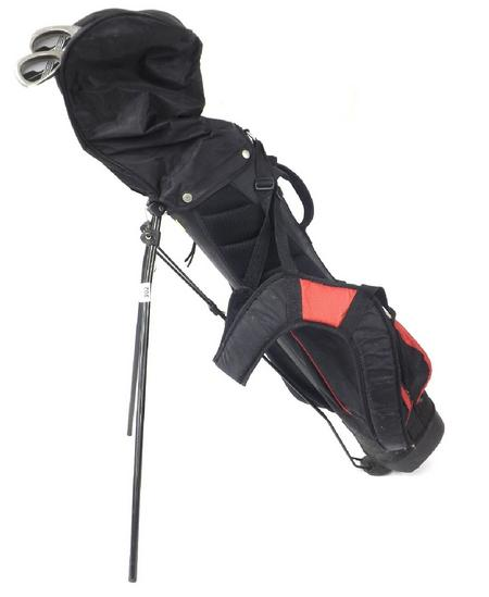 Three child size golf clubs with bag